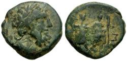Ancient Coins - Coele Syria.  Chalkis. Ptolemaios as Tetrarch. Son of Mennaeus Æ19 / Zeus and Warriors