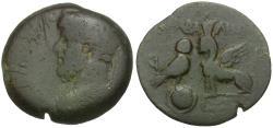 Ancient Coins - Commodus (AD 177-192). Seleucis and Pieria. Gabala Æ22 / Owl and Sphinx