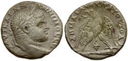 Ancient Coins - Caracalla. Phoenicia. Tyre AR Tetradrachm / Murex Shell