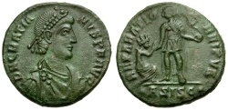 Ancient Coins - Gratian Æ Follis / Emperor and Kneeling Woman