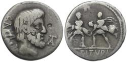 Ancient Coins - 89 BC - Roman Republic. L. Titurius L. f. Sabinus AR Denarius / Rape of the Sabine Women