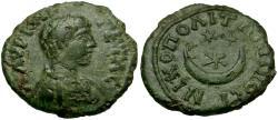 Ancient Coins - Geta (AD 198-211). Moesia Inferior. Nikopolis ad Istrum Æ17 / Crescent and Stars