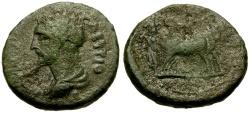 Ancient Coins - Antoninus Pius, Mysia, Parium Æ17 / Founder Ploughing