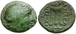 Ancient Coins - Seleukid Kings. Antiochos Theos II Æ17 / Tripod