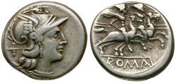 Ancient Coins - After 211 BC - Roman Republican. Anonymous AR Denarius / Dioscuri