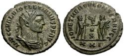 Ancient Coins - EF/EF Diocletian Silvered Antoninianus / Emperor Receiving Victory from Jupiter
