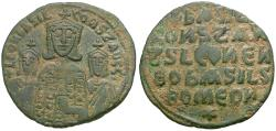Ancient Coins - *Sear 1712* Byzantine Empire. Basil I the Macedonian (AD 867-886) with Leo VI and Constantine VII Æ Follis
