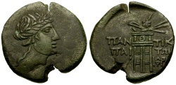 Ancient Coins - Pontic Kings of the Bosporus, Mithradates VI Eupator, Pantikapaion Æ Tetrachalkon / Dionysos and Tripod