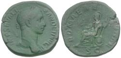 Ancient Coins - Severus Alexander (AD 222-235) Æ Sestertius / Roma Seated