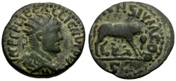 Ancient Coins - Gallienus. Lycaonia. Iconium Æ22 / Wolf and Twins