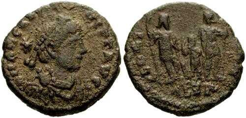 Ancient Coins - VF/aVF Arcadius AE4 / Three Emperors