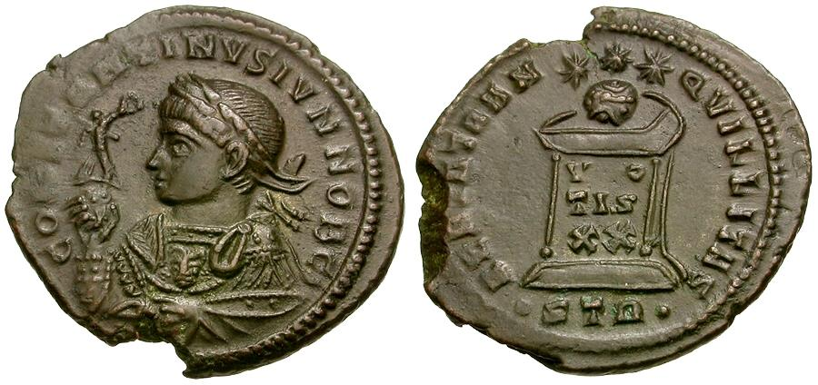 Ancient Coins - Constantine II, as Caesar (AD 316-337) Æ3 / Globe on Altar