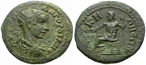 Ancient Coins - VF/VF Gordian III Phrygia Acmoneia AE26 / Zeus