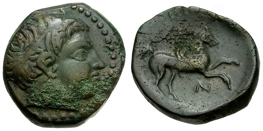Ancient Coins - Kings of Macedon.  Philip II. Father of Alexander the Great Æ18 / Youth on Horseback