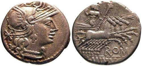 Ancient Coins - 134 BC / VF/VF Minucia 15 Roman Republic Denarius / Roma