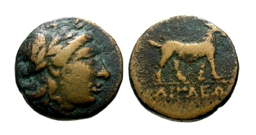 Ancient Coins - F+/F Aeolis Aegai AE15 / Apollo / Goat