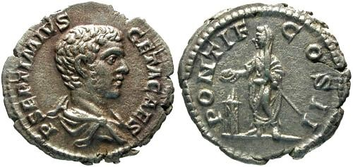 Ancient Coins - EF/aEF Geta Denarius / Geta Sacrificing