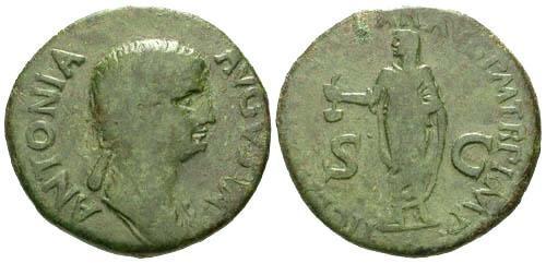 Ancient Coins - gF/gF Antonia Dupondius / Claudius Sacrificing