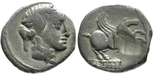 Ancient Coins - 90 BC F/F Titia 2 Roman Republic Denarius / Pegasus