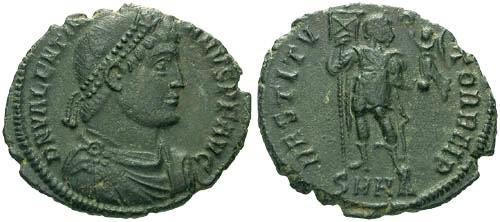 Ancient Coins - VF/VF Valentinian I AE / Emperor Standing