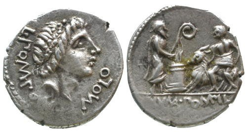 Ancient Coins - 97 BC EF/EF Pomponia 6 Roman Republic AR Denarius of L. Pompon Molo - Numa, Goat