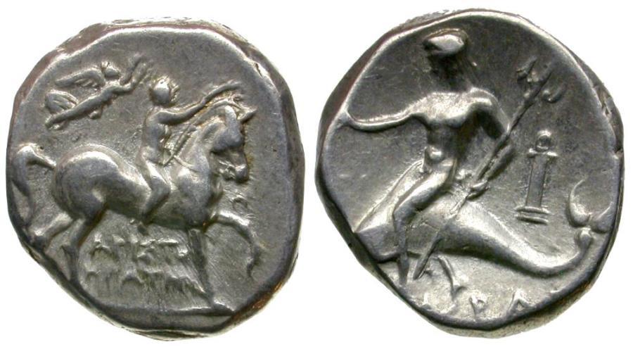Ancient Coins - Calabria. Tarentum. Aristokrates, magistrate AR Stater / Taras Riding Dolphin