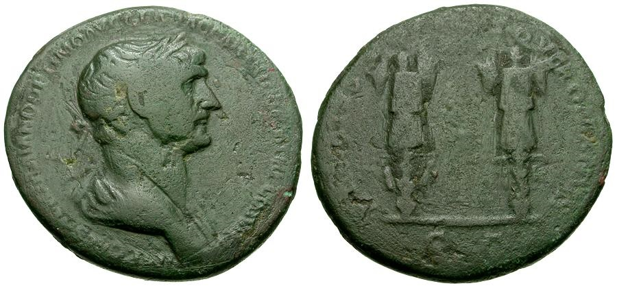 Ancient Coins - Trajan Æ AS / Two Trophies