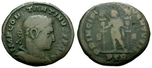 Ancient Coins - F/F Constantine I the Great Follis / PRINCIPI IVVENTVTIS