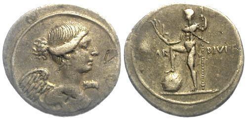 Ancient Coins - 31-30 BC VF/VF Octavian/Augustus AR Denarius Winged Victory, Octavian as Neptune