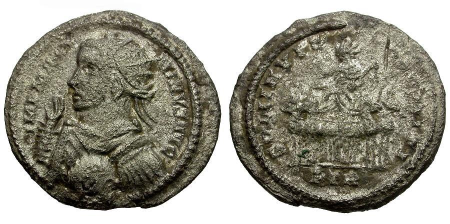 Ancient Coins - Maximinus II BI Argenteus / Sol in Spread Quadriga