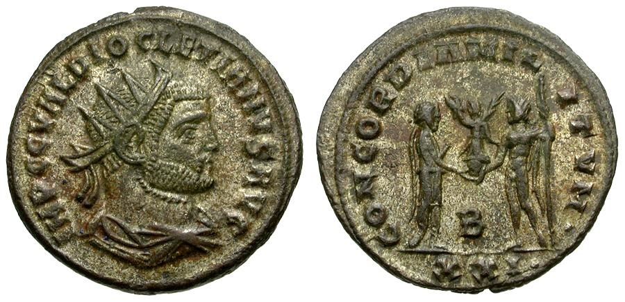 Ancient Coins - Diocletian Silvered Post Reform Radiate / Jupiter Presenting Victory to Emperor