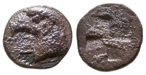 Ancient Coins - F/F  Aeolis Kyme AR Hemiobol / Eagle's Head