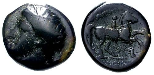 Ancient Coins - aVF/aVF Philip II Bronze / Youth on Horse