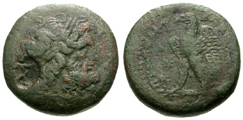 Ancient Coins - gF/gF Kings of Egypt Ptolemy II AE20 / Ithyphallic Pan Counterstamp