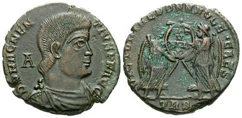 Ancient Coins - EF/VF Magnentius AE Centenionalis / Victories