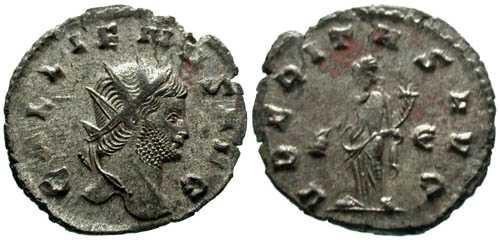 Ancient Coins - EF/VF Gallienus Silvered Antoninianus / Uberitas