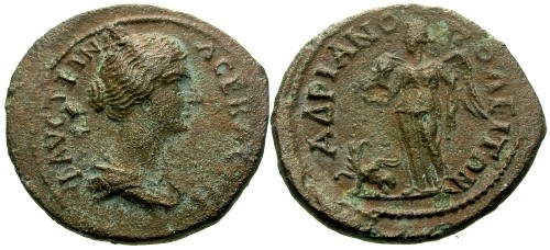 Ancient Coins - aV/aVF Faustina II Thrace Hadrianopolis AE24 / Victory with griffin