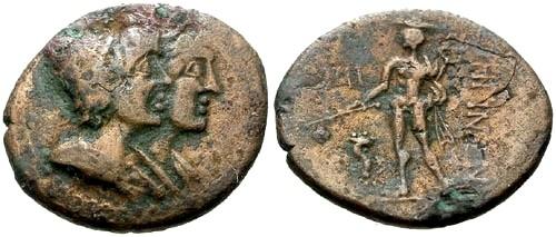 Ancient Coins - VF/VF Bruttium Rhegion AE Tetras / Dioscuri and Asklepios