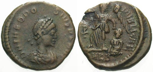 Ancient Coins - aVF/aVF Theodosius AE4 / Victory Dragging Captive
