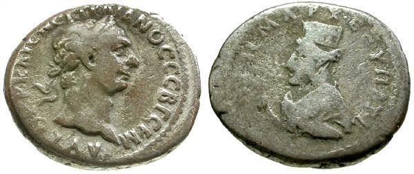 Ancient Coins - gF+/F Trajan Caesarea Cappadocia AR Didrachm / Artemis
