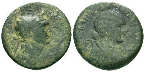 Ancient Coins - gF/gF Trajan and Matidia AE Cilicia Anazarbus / Portrait of Marciana
