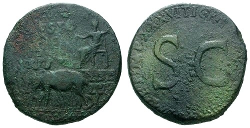 Ancient Coins - gF/gF Tiberius AE Sestertius / Elephant Quadriga / S C