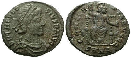 Ancient Coins - aVF/aVF Theodosius AE3 / Concordia