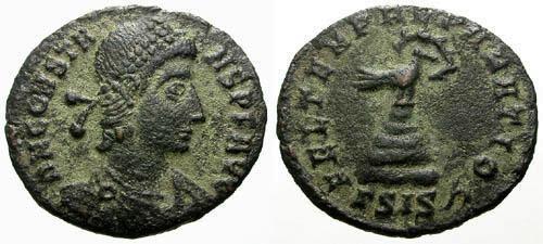 Ancient Coins - VF/VF Constans as Augustus Æ3 / Phoenix