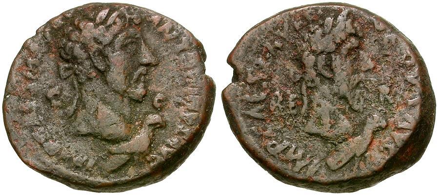 Ancient Coins - Marcus Aurelius (AD 161-180) with Lucius Verus. Phoenicia. Berytus Æ26