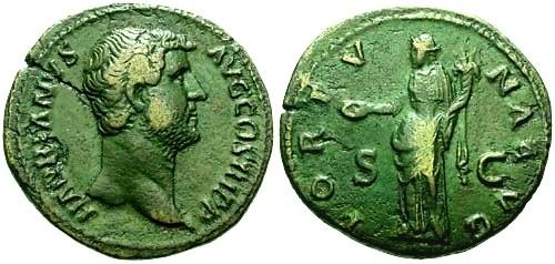Ancient Coins - VF/VF Hadrian AE AS Patina / Fortuna