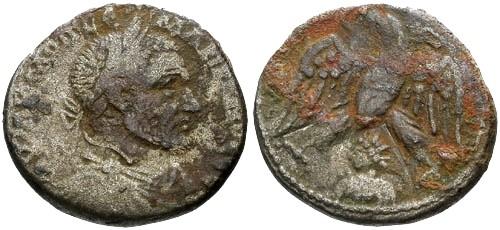 Ancient Coins - F/aVF Macrinus Billon Tetradrachm of Emisa Syria / Eagle and Bust of Sol