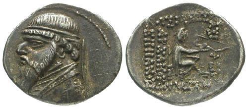 Ancient Coins - VF/VF Mithradates II AR Drachm / Archer