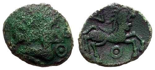 Ancient Coins - F/VF Rare Bellovaci Bronze / Man Headed Horse