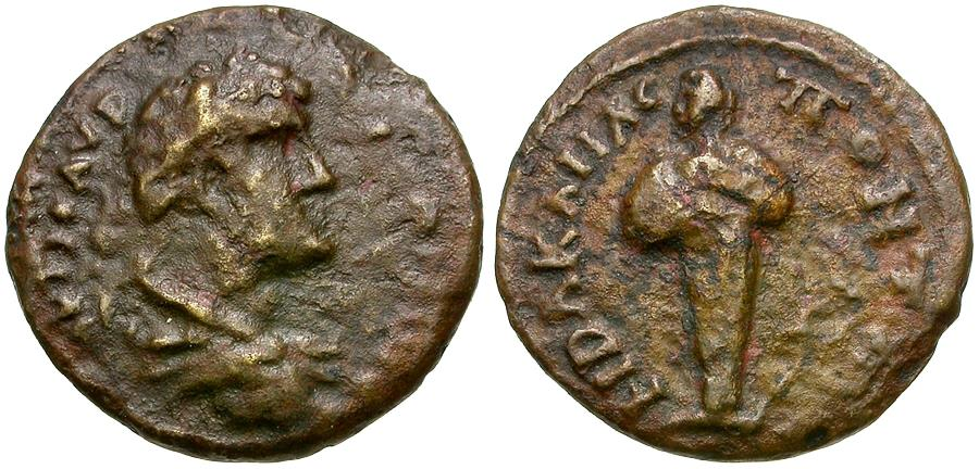 Ancient Coins - Elagabalus (AD 218-222). Bithynia. Heraclea. Pontika Æ17 / Herm